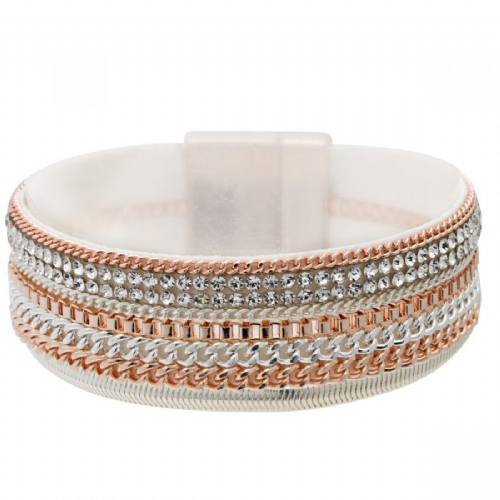 Bisoux Jewellery Magnetic Multi Strand Faux Suede Backed Bracelet in Rose Gold